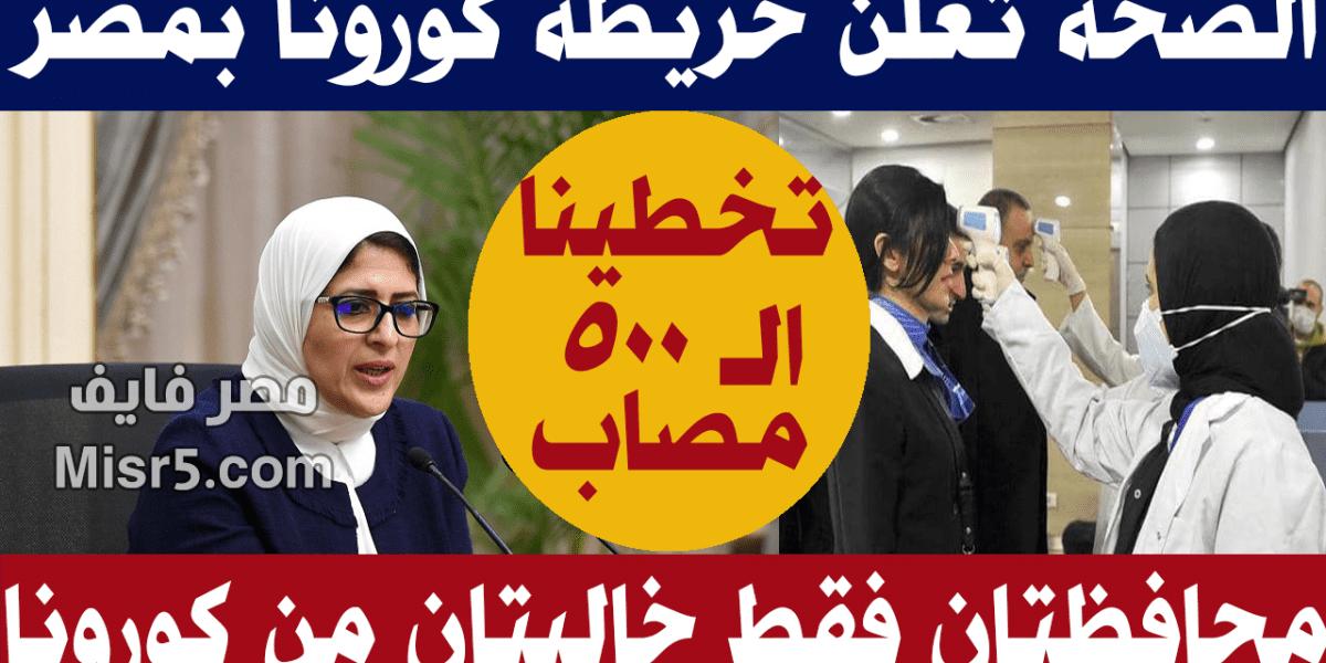 الصحة تعلن محافظتان فقط في مصر خاليتان من كورونا.. تعرف عليهما