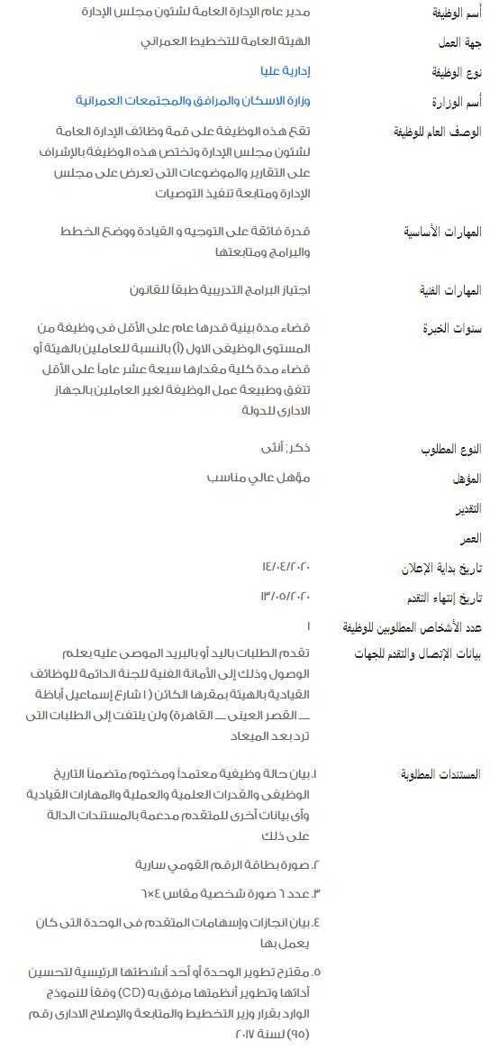 وظائف الحكومة المصرية لشهر مايو 2020 2