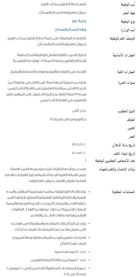 وظائف الحكومة المصرية لشهر مايو 2020 1