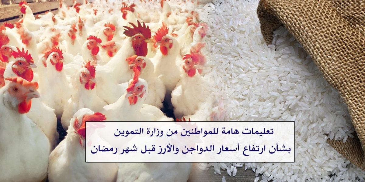 وزارة التموين تنفي أنباء ارتفاع أسعار الدواجن والأرز بالمجمعات الاستهلاكية وتوجيهات مهمة للمواطنين