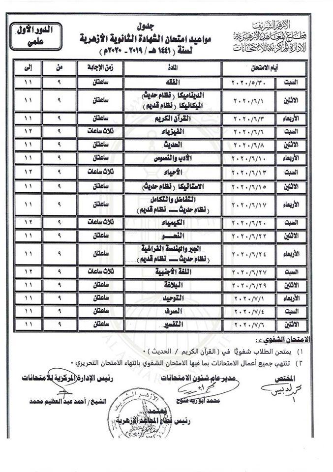 جدول امتحانات الثانوية الأزهرية علمي