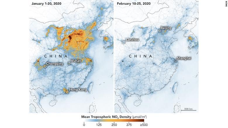 انخفاض ملحوظ في مستويات التلوث وفى معدل ثاني أكسيد الكربون بسبب كورونا 1