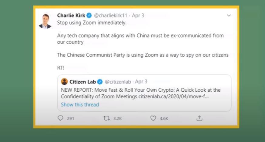تغريدة شارلي كيرك التي يحذر فيها من استخدام تطبيق زووم لمحادثات الفيديو