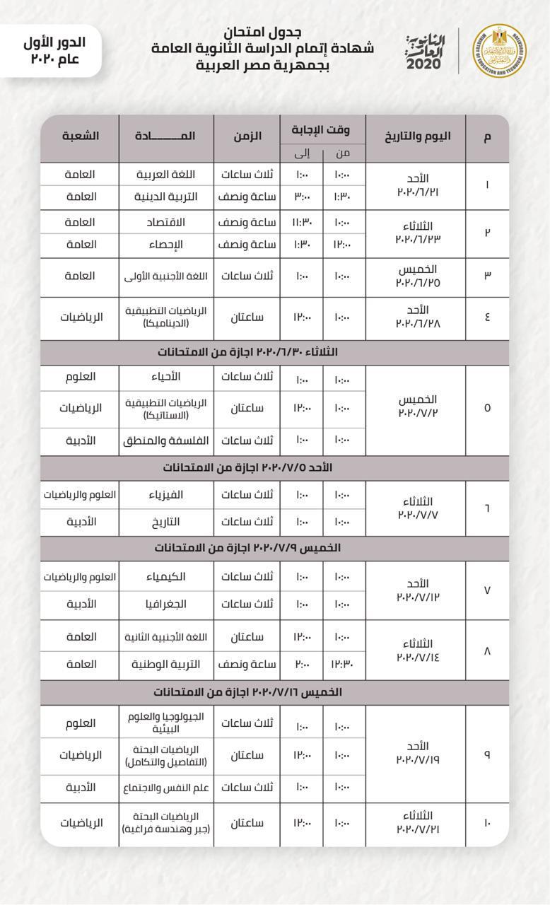 جدول امتحانات الثانوية العامة الجديد 2020