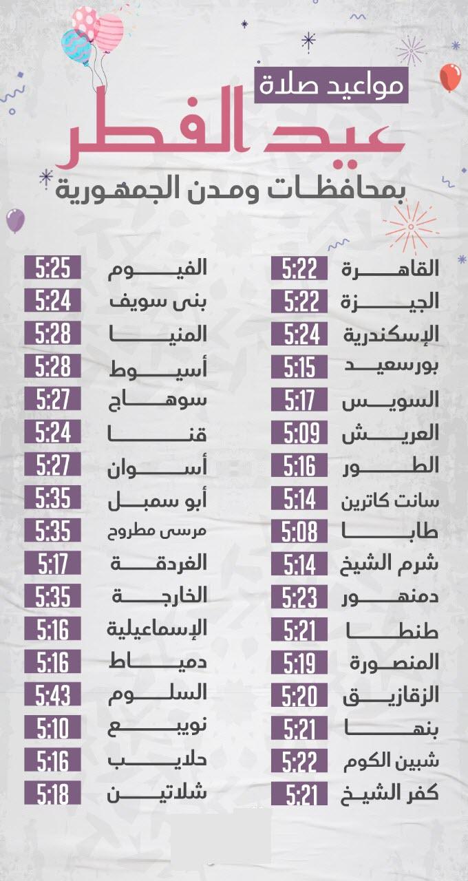 مواعيد صلاة عيد الفطر المبارك 2020 فى جميع مدن ومحافظات الجمهورية 1