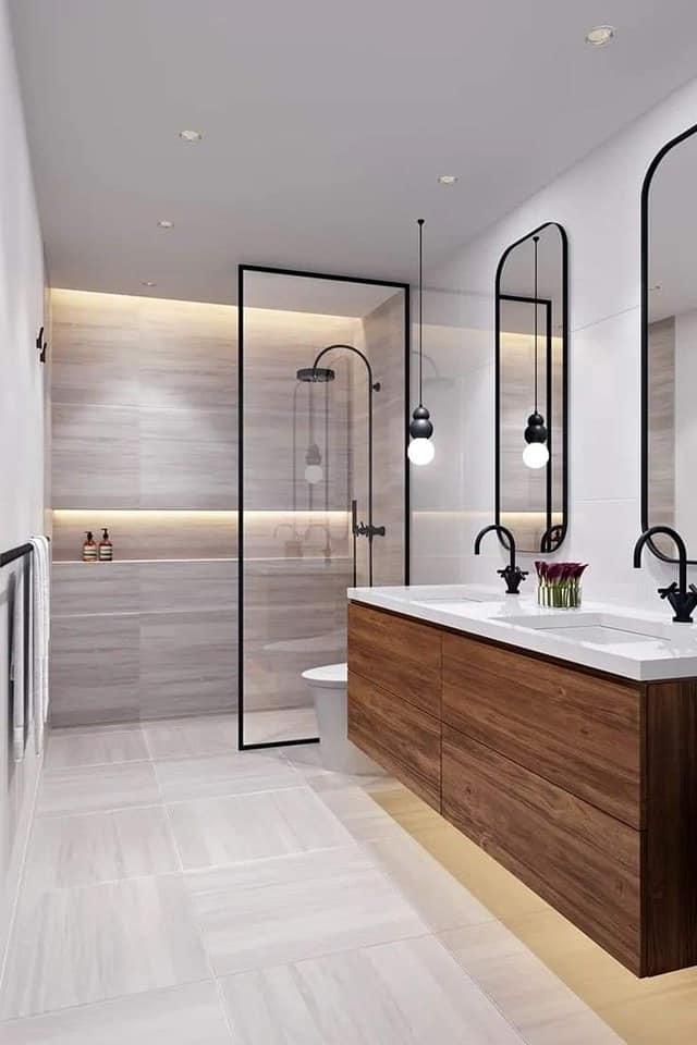 أحدث ديكورات حمامات مودرن 2021 للشقق الصغيرة والكبيرة 2