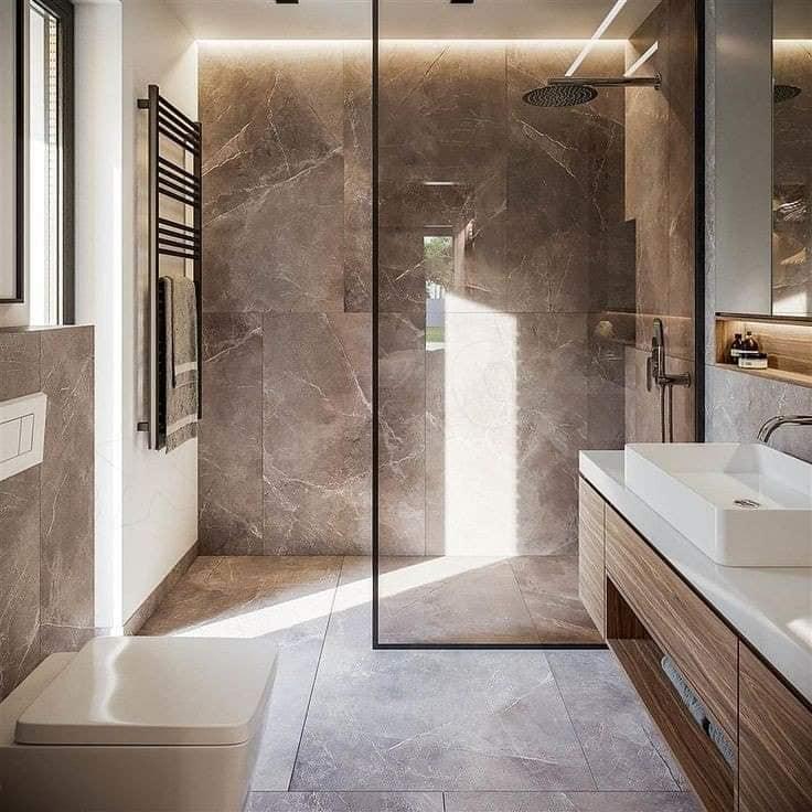 أحدث ديكورات حمامات مودرن 2021 للشقق الصغيرة والكبيرة 3