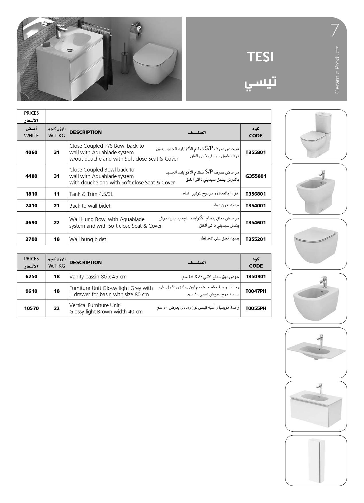 أسعار اطقم حمامات تيسي ايديال ستاندرد 2020