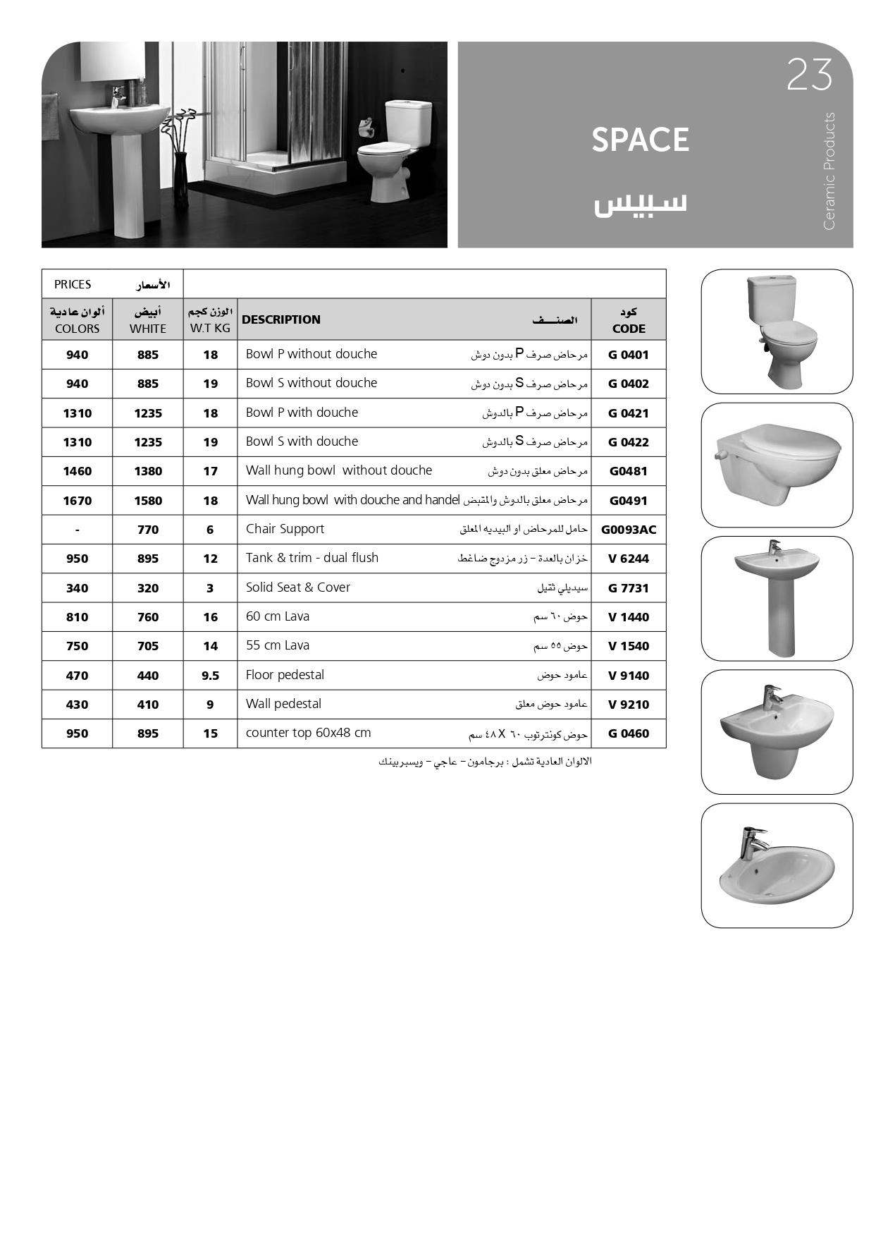 أسعار اطقم حمامات سبيس ايديال ستاندرد 2020