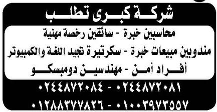 وظائف جريدة الوسيط اليوم الجمعة 7/8/2020 لجميع المؤهلات 4