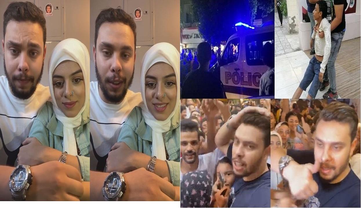 """""""فيديو وصور"""" أحمد حسن وزينب يفتتحان مطعم جديد بالمعادي وزحام شديد وإغماءات والشرطة تتدخل"""