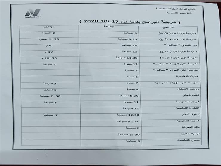 جدول مواعيد عرض المواد الدراسية علي قنوات مصر التعليمية 2020-2021