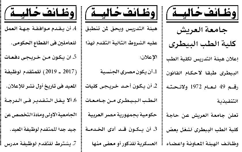 وظائف جامعة العريش