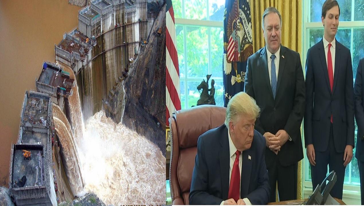 """بالفيديو """"ترامب"""" مصر منزعجة ولو انتهي الأمر بـ تفجير سد النهضة لا يمكن لأحد أن يلومها"""
