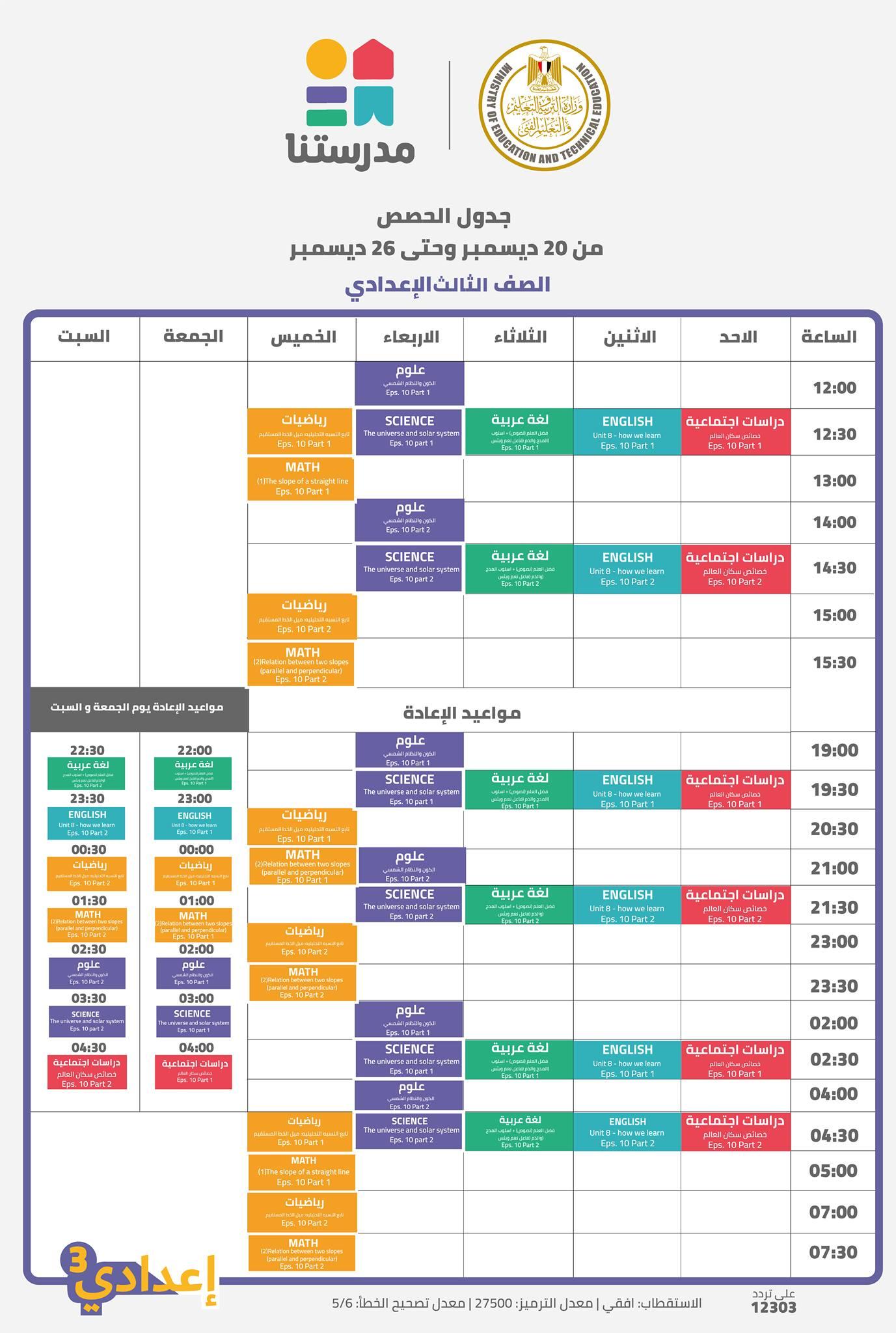جدول مواعيد البرامج التعليمية للصف الأول الإعدادي علي قناة مدرستنا