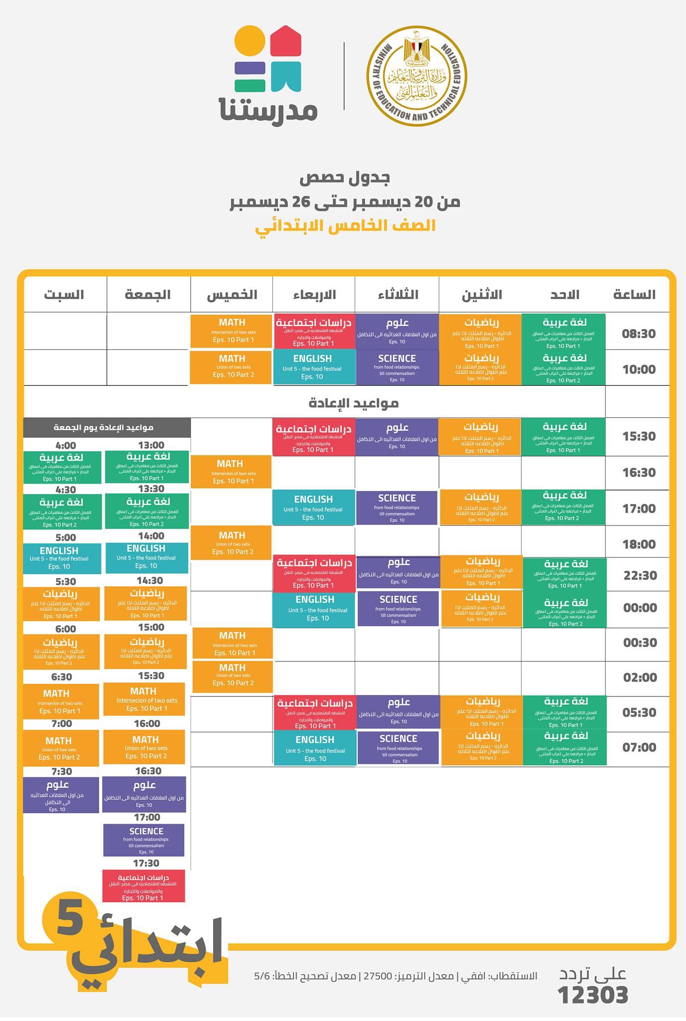 جدول مواعيد البرامج التعليمية للصف الخامس الإعدادي علي قناة مدرستنا