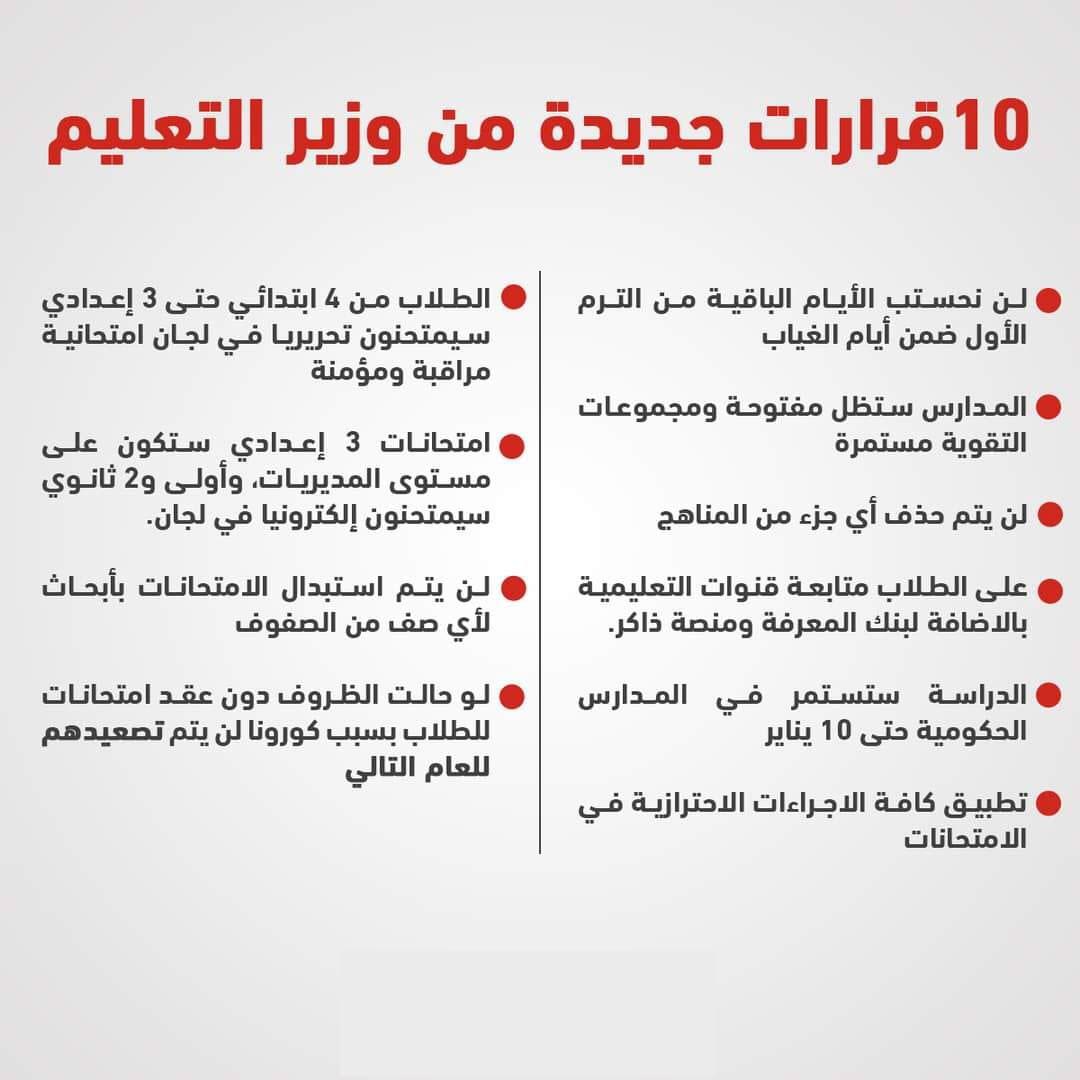 وزير التربية والتعليم يصدر 10 قرارات جديدة لاستكمال الدراسة وموعد جديد لبدء امتحانات سنوات النقل 7