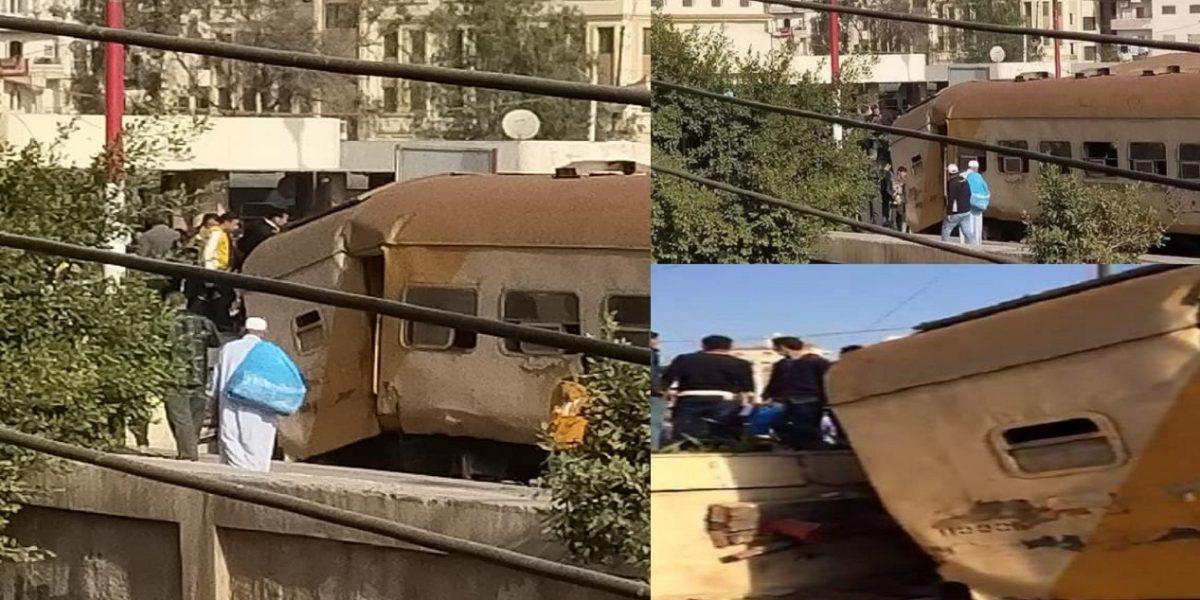 """""""فيديو وصور"""" اصطدام قطار بحاجز خرساني في محطة المنصورة منذ قليل وأعداد الإصابات والتفاصيل الأولية للحادث"""