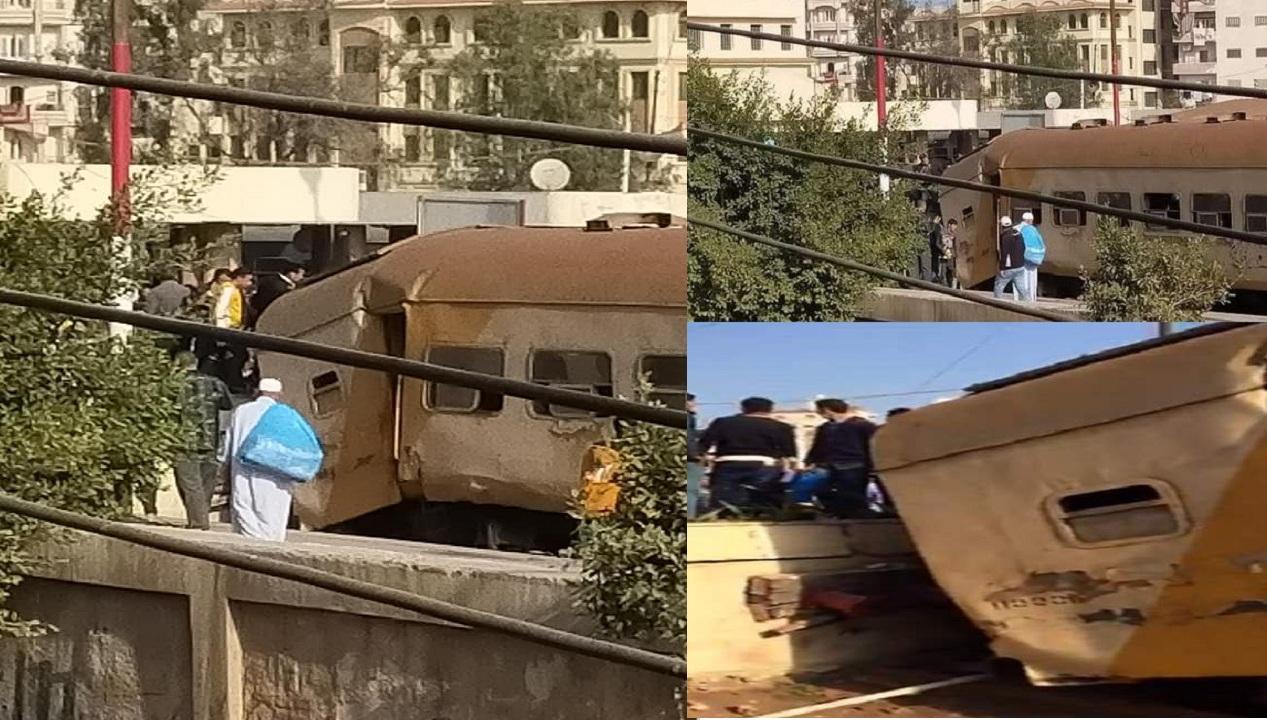 """""""فيديو وصور"""" اصطدام قطار بحاجز خرساني في محطة المنصورة منذ قليل وأعداد الإصابات والتفاصيل الأولية للحادث 1"""