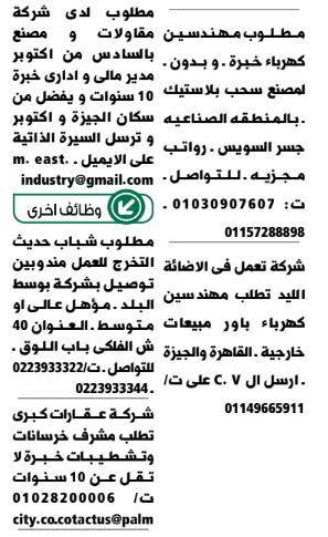 وظائف جريدة الوسيط اليوم الجمعة 4/12/2020 7