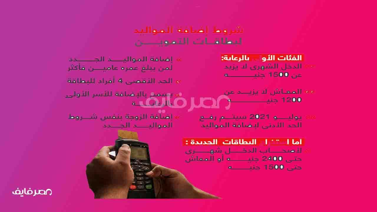 الآن شروط اضافة المواليد على موقع دعم مصر خدمات التموين برقم الموبايل|وشروط استخراج بطاقة جديدة