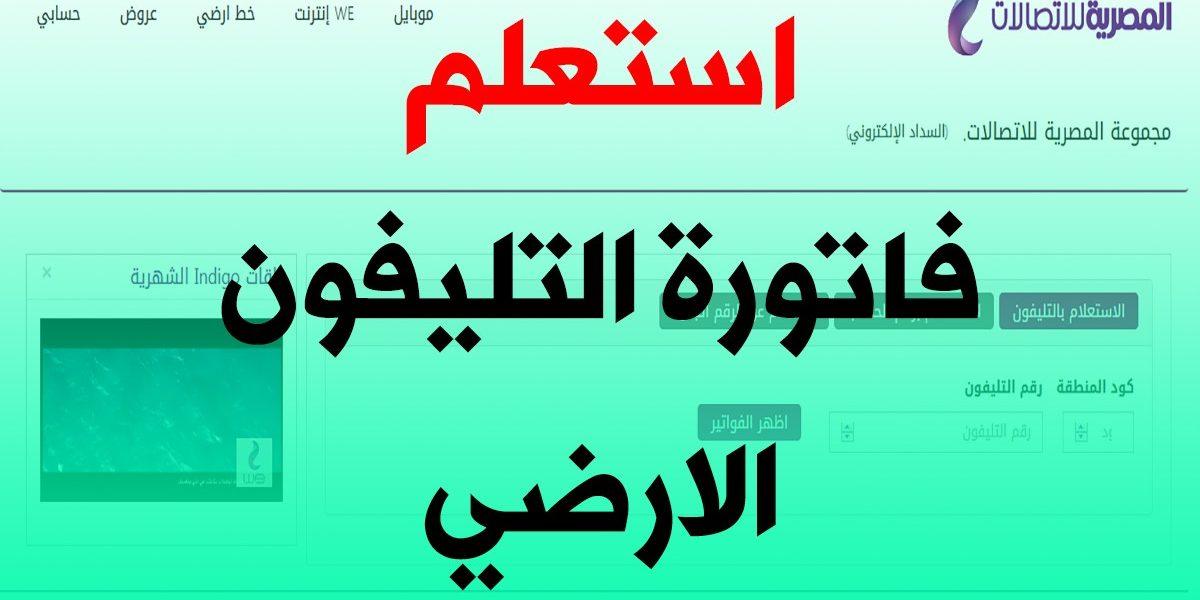 فاتورة التليفون الأرضي يناير 2021 من المصرية للاتصالات وطرق سداد الفاتورة billing.te.eg