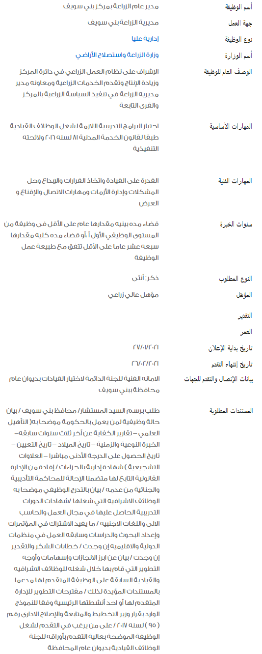 وظائف الحكومة المصرية لشهر فبراير 2021 وظائف بوابة الحكومة المصرية 1