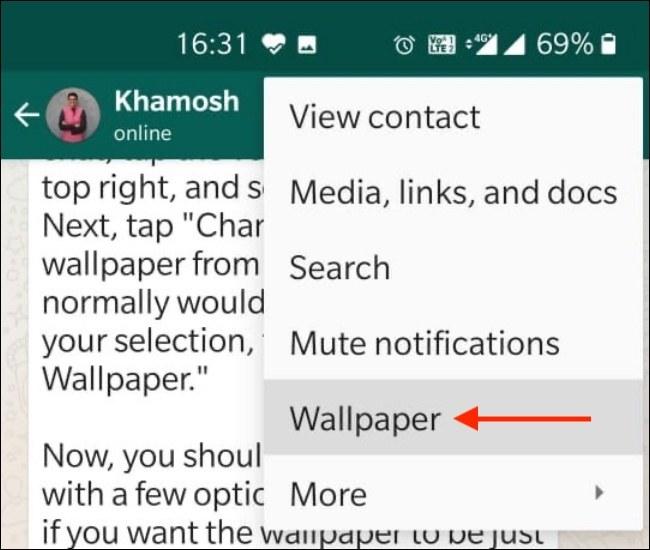 كيفية تعيين خلفية مخصصة لمحادثاتWhatsApp 1