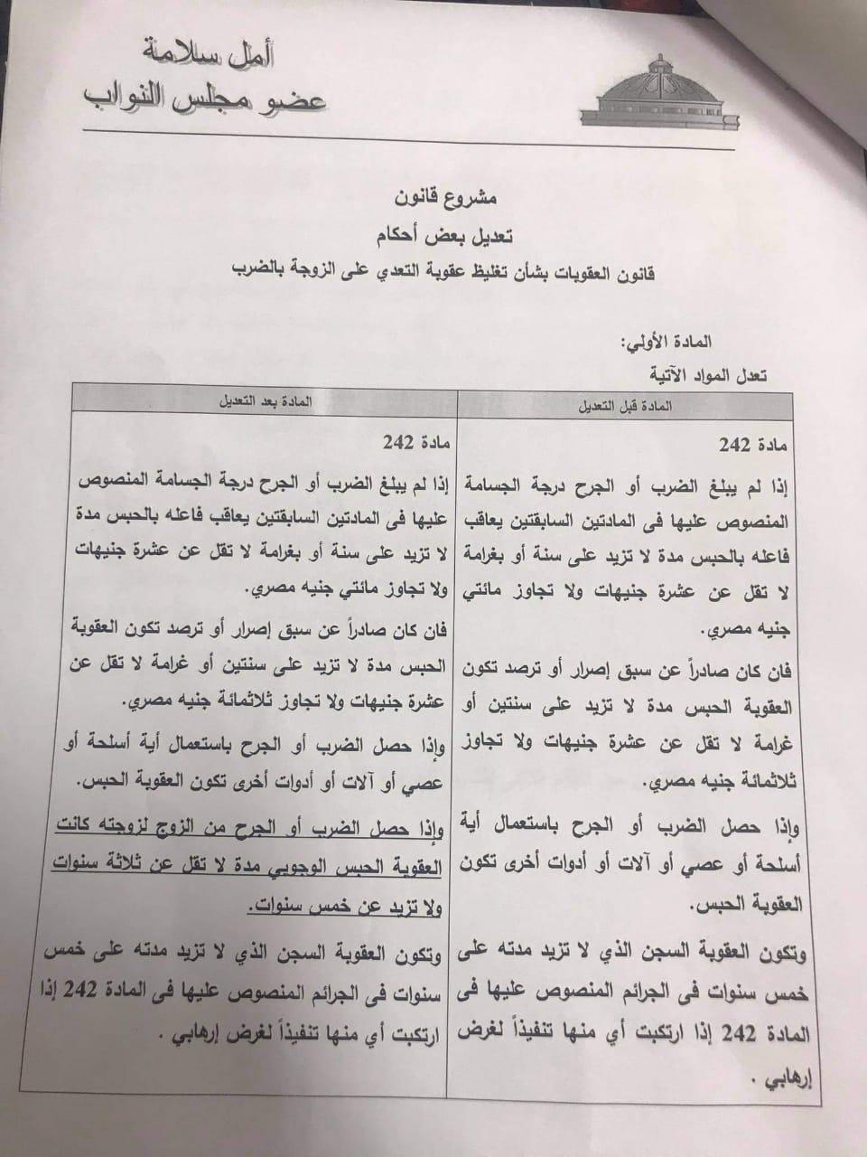 ننشر بالمستندات تفاصيل مشروع قانون بتغليظ عقوبة التعدي على الزوجة بالضرب والحبس من 3 لـ5 سنوات ينتظر الأزواج 4