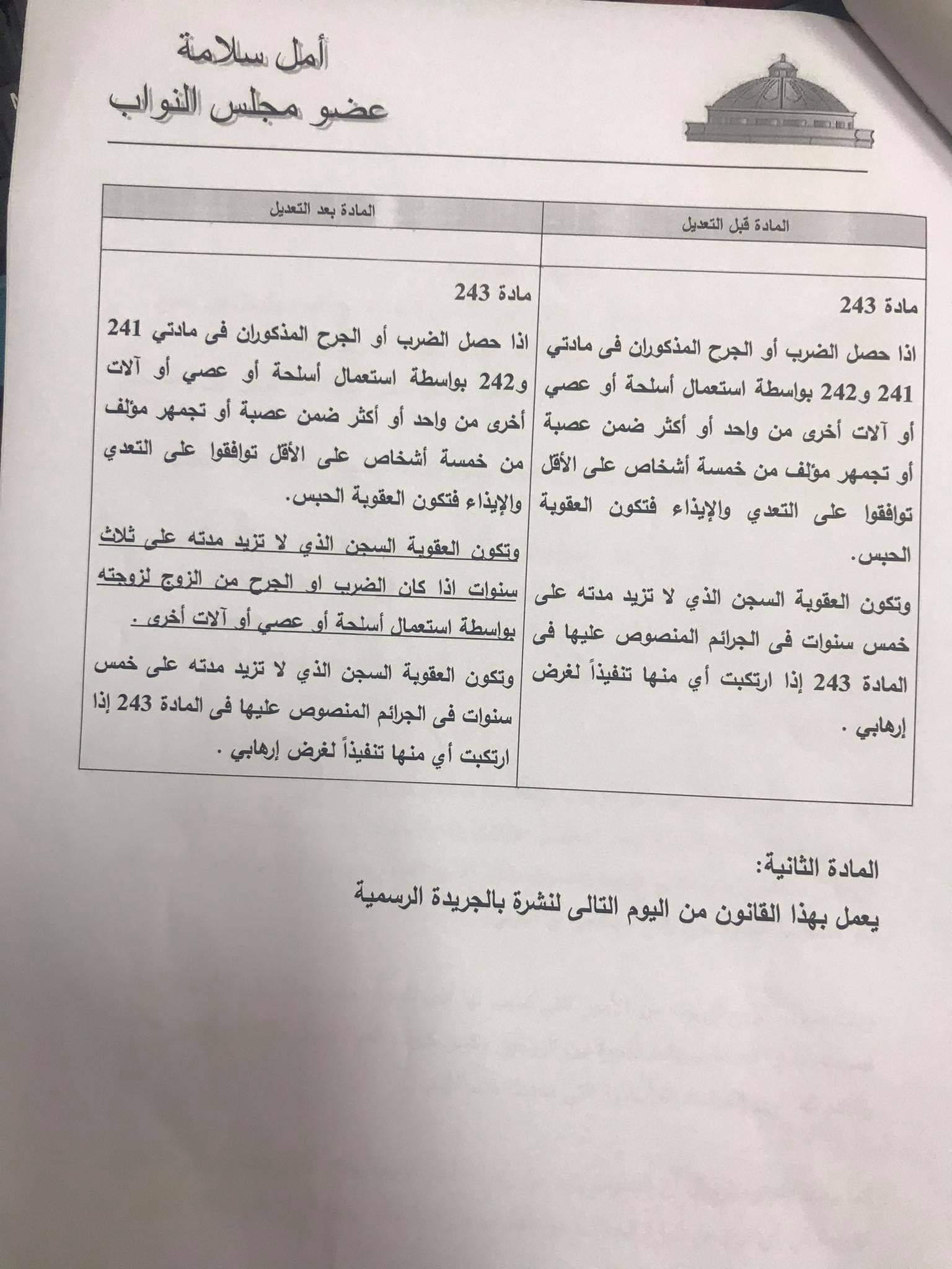ننشر بالمستندات تفاصيل مشروع قانون بتغليظ عقوبة التعدي على الزوجة بالضرب والحبس من 3 لـ5 سنوات ينتظر الأزواج 5