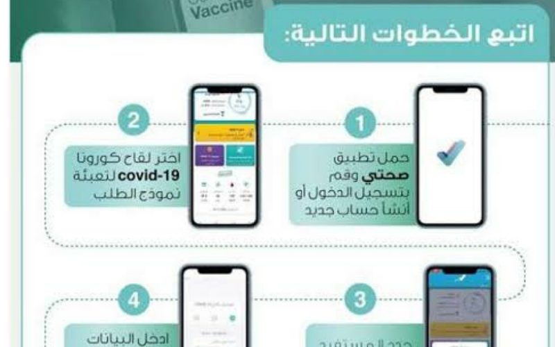 خطوات الحجز في لقاح فيروس كورونا عبر تطبيق صحتي