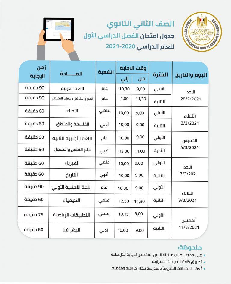 اعرف جدول امتحانات الترم الأول للصف الأول الثانوي والصف الثاني الثانوي 2