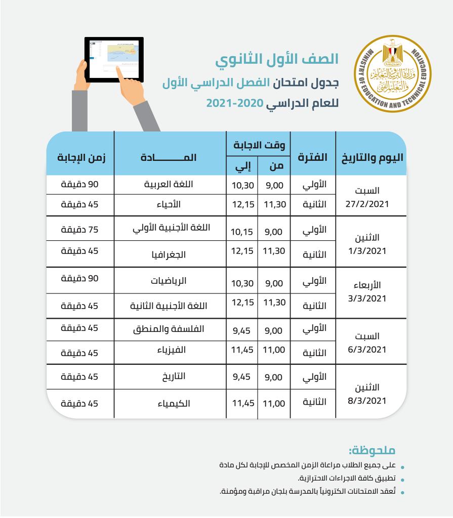 جدول امتحان الفصل الدراسي الأول 2021 للصفين الأول والثاني الثانوي 2