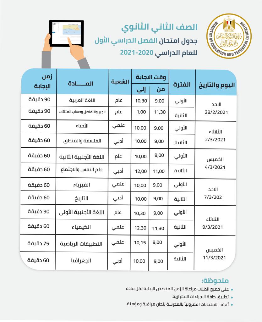 جدول امتحان الفصل الدراسي الأول 2021 للصفين الأول والثاني الثانوي 3