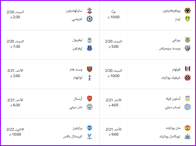 جدول ترتيب الدوري الإنجليزي قبل مباريات الأسبوع الخامس والعشرون 2