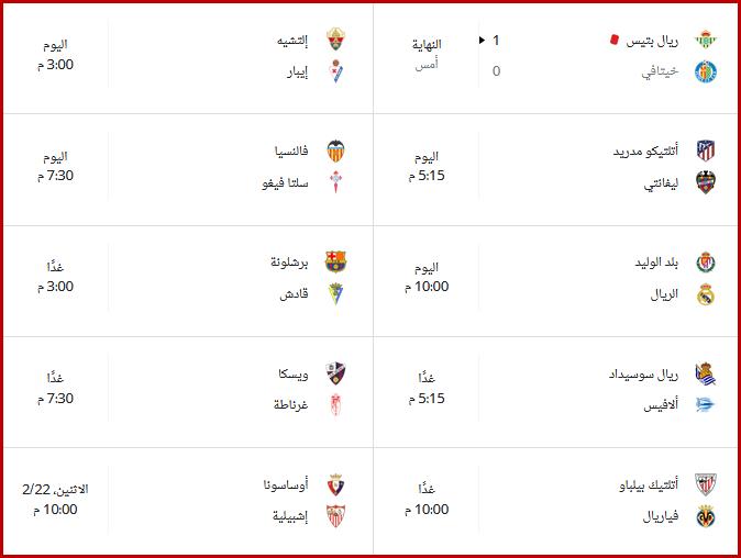 ترتيب الدوري الإسباني قبل مواجهات الأسبوع الرابع والعشرون 2