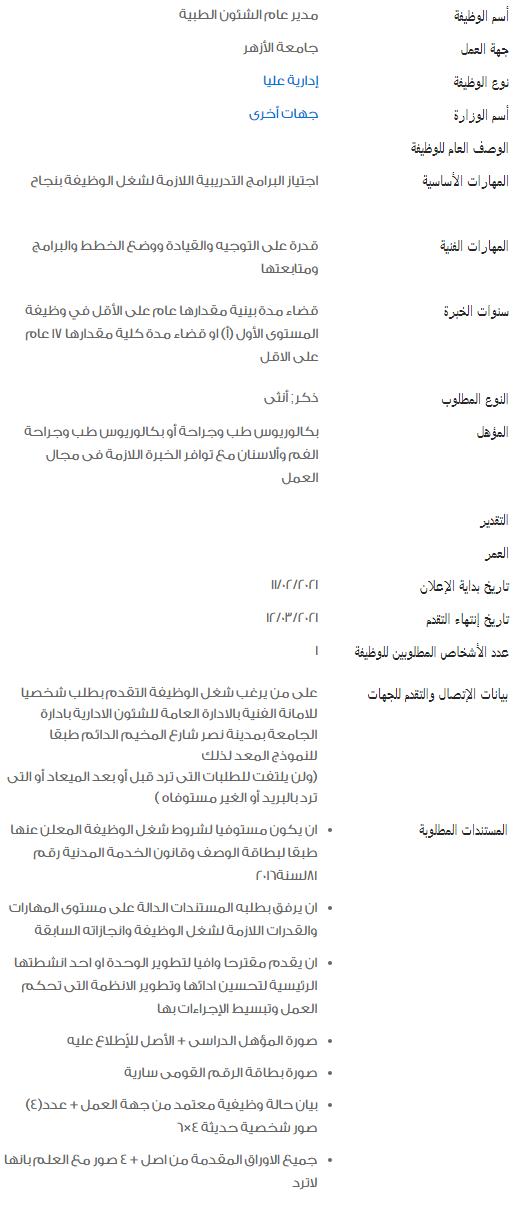 وظائف الحكومة المصرية لشهر فبراير 2021 وظائف بوابة الحكومة المصرية 6