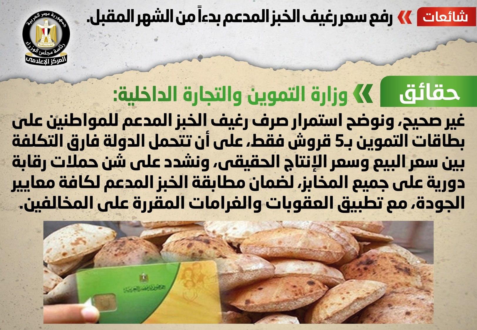 بيان رسمي.. سعر رغيف الخبز المدعم اليوم 4