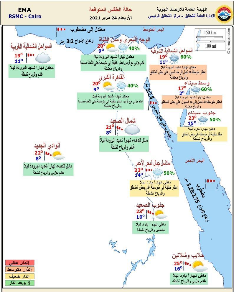 أمطار خفيفة ومتوسطة بالقاهرة والوجه البحري.. حالة الطقس اليوم الأربعاء 24 فبراير 2021 وأماكن تساقط الأمطار 2