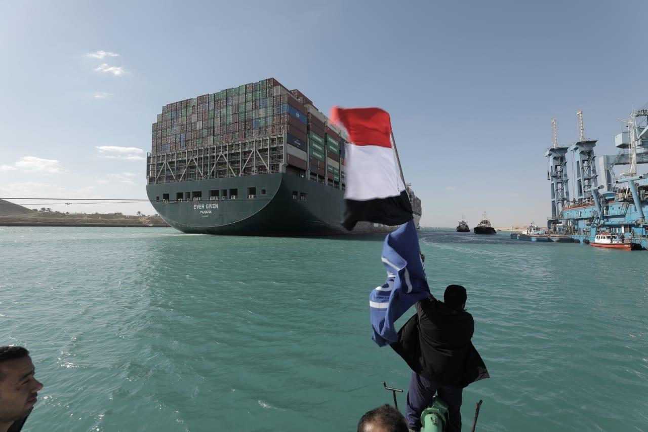 السفينة الجانحة ever given بعد خروجها من قناة السويس