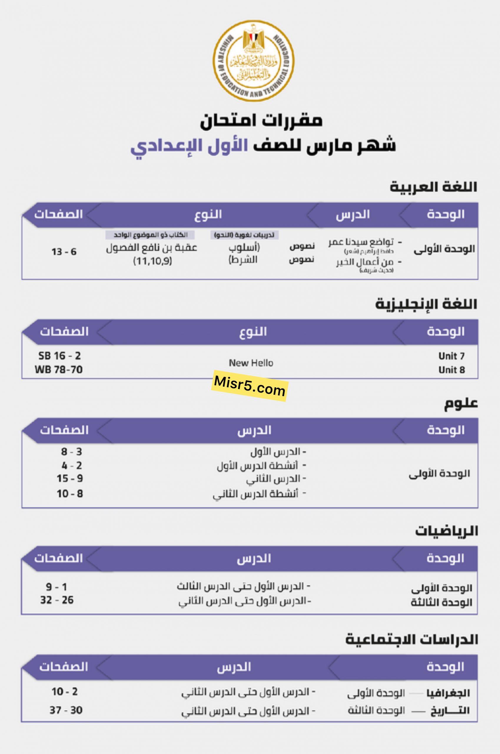 عاجل وزارة التربية والتعليم | تعلن مقررات مراحل الإبتدائية والإعدادية لشهر مارس 4