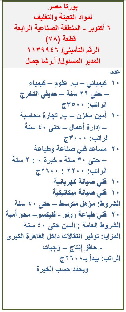 وظائف شركة بورتا مصر لمواد التعبئة والتغليف