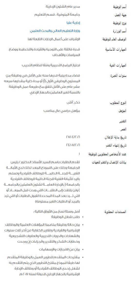 وظائف الحكومة المصرية لشهر مايو 2021 وظائف بوابة الحكومة المصرية 4