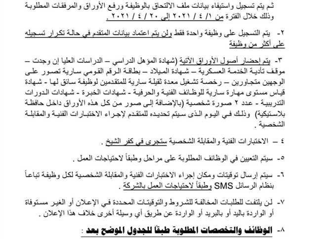 وظائف الشركة المصرية للرمال السوداء