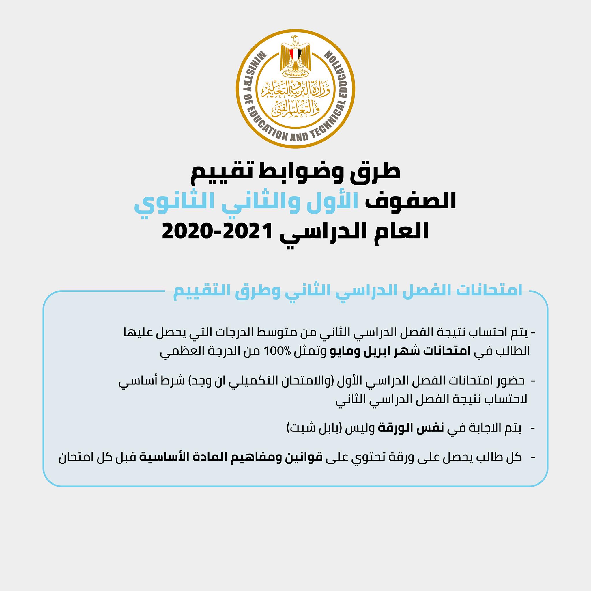 التعليم تعلن طرق وضوابط تقييم طلاب الأول والثاني الثانوي العام للعام الدراسي 2021 2