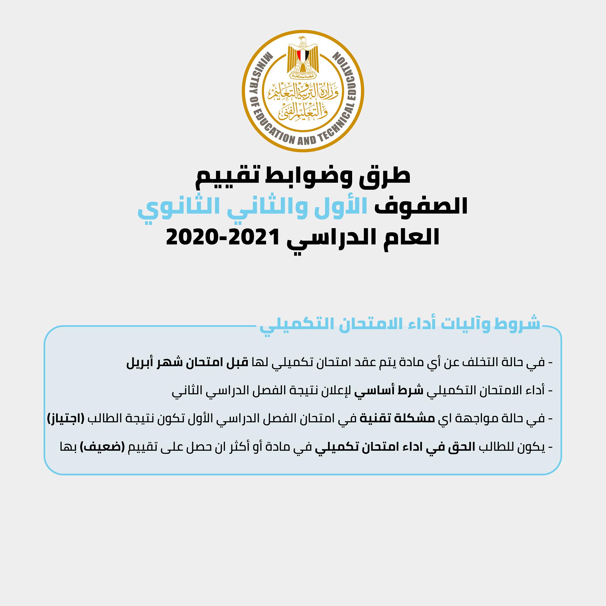 التعليم تعلن طرق وضوابط تقييم طلاب الأول والثاني الثانوي العام للعام الدراسي 2021 3
