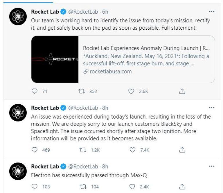 شركة أمريكية تعلن فقدان السيطرة على صاروخها في الفضاء 1