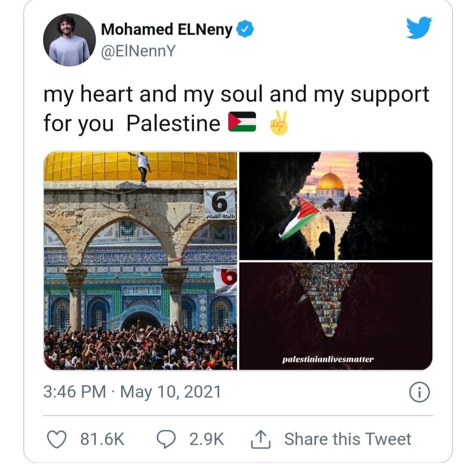 محمد الننى يغرد تعاطفًا مع فلسطين.. وعضو منظمة يهودية بريطانية يشتكى وآرسنال يرد 1