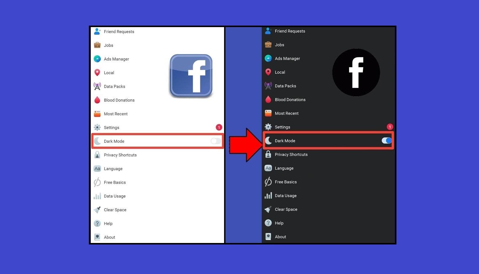 """إختفاء الوضع الليلي """"Dark Mode"""" من تطبيق فيسبوك"""