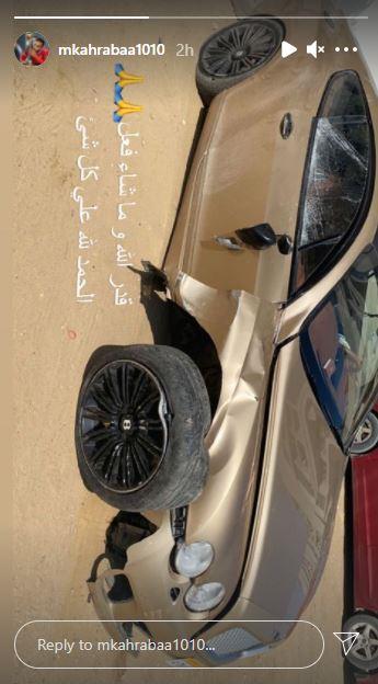 """صور.. نجم الأهلي يتعرض لحادث أليم وتحطم سيارته ويعلق """"قدر الله وما شاء فعل"""" 3"""